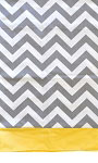 Zig Zag Curtain Valance with Yellow Solid Band