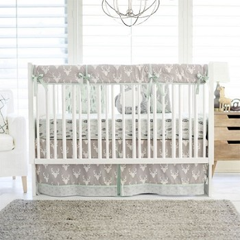Mint And Grey Woodland Deer Nursery Set Buck Forest In Mist Collection