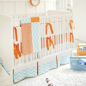 "Orange and Blue Crib Bedding - ""Orange Crush"""