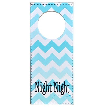 Nursery Doorknob Sign Aqua Chevron - Night Night