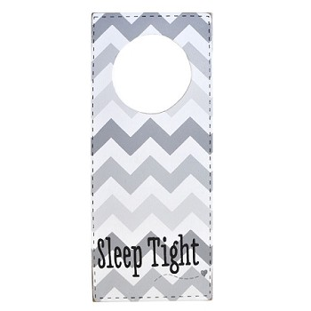 Nursery Doorknob Sign Gray Chevron - Sleep Tight