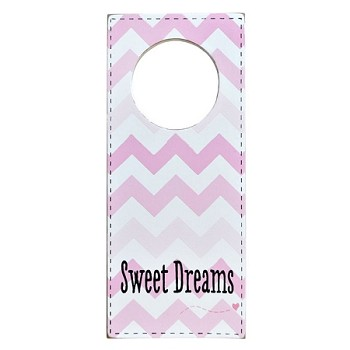 Nursery Doorknob Sign Pink Chevron - Sweet Dreams