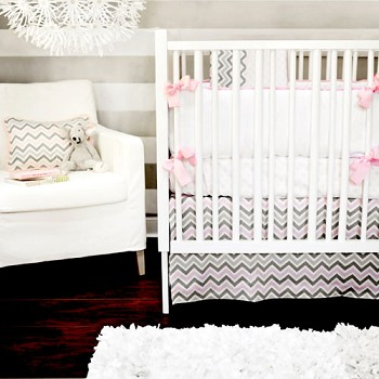 Pink and Gray Chevron Baby Bedding  |  Peace, Love & Pink Crib Collection
