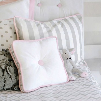 Gray Stripe with Pink Cording Standard Pillow Sham