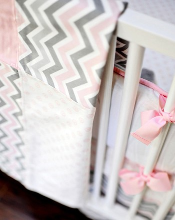 Pink and Gray Chevron Baby Blanket | Peace, Love & Pink Crib Collection