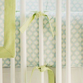 Aqua & Green Crib Bumper | Sprout Crib Collection