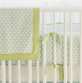 Aqua and Green Baby Blanket | Sprout Crib Collection