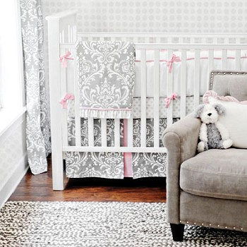 Stella Gray Damask Baby Bedding
