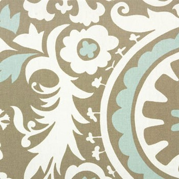 Premier Prints Suzani Powder Blue Twill | Suzani in Khaki