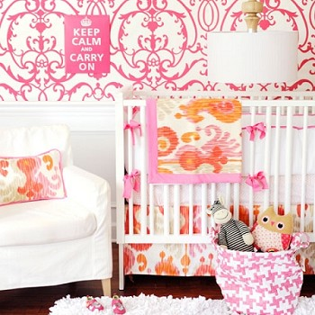 Urban Ikat in Fuchsia Baby Bedding