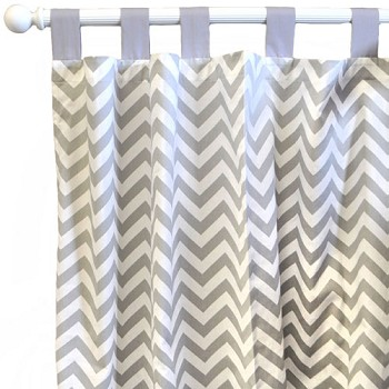 Gray Chevron Curtain Panels  |  Zig Zag Baby in Gray Crib Collection
