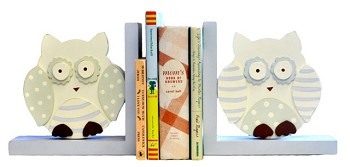 Wooden Bookends - Blue Owls