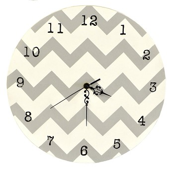Chevron Clock in Gray