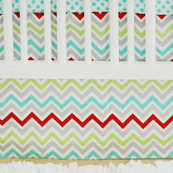 Aqua Chevron Crib Skirt | Jellybean Parade Crib Collection