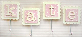 Monogram Wall Hook in Pink