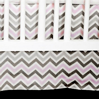 Gray and Pink Crib Skirt | Peace, Love & Pink Chevron Crib Collection