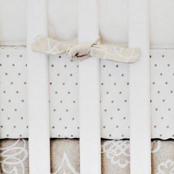 Khaki and White Polka Dot Crib Sheet | Picket Fence Collection