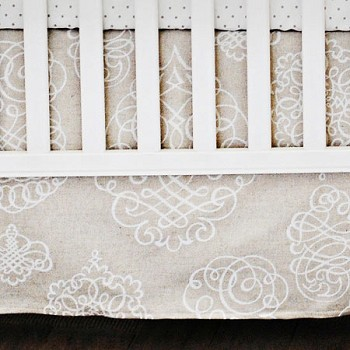 Khaki Scroll Crib Skirt  |  Pebble Moon Crib Collection