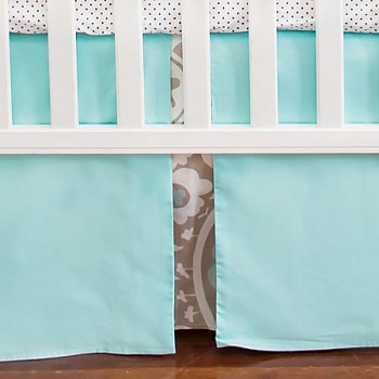 Khaki and Aqua Crib Skirt | Picket Fence Crib Collection
