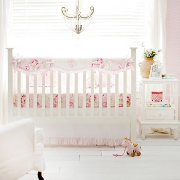 Floral Crib Rail Cover Set | Pink Desert Rose Collection