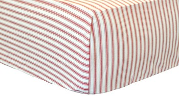Red Ticking Crib Sheet