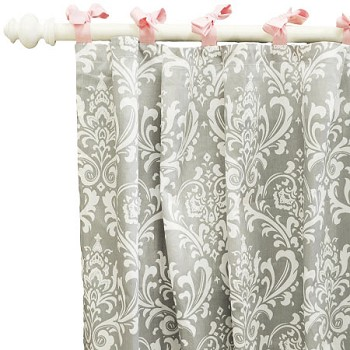 Pink and Gray Damask Curtain Panels  |  Stella Gray Crib Collection