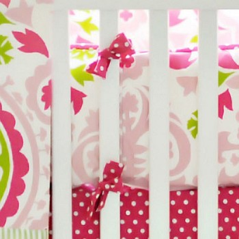 Pink & Green Suzani Crib Bumper | Strawberry Fields Collection