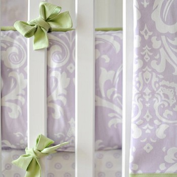 Green and Lavender Crib Bumper | Sweet Violet Collection