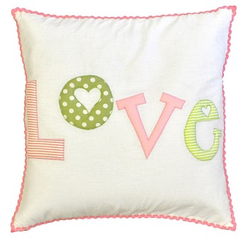 Love Embroidered Throw Pillow