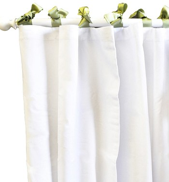 White Pique Curtain Panels in Green