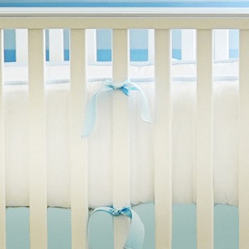 Blue & White Crib Bumper | White Pique in Blue Collection