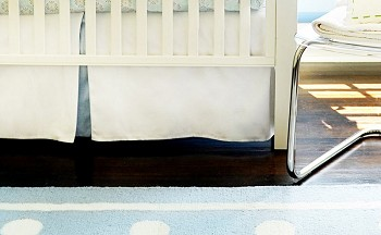 White Pique with Blue Trim Crib Skirt