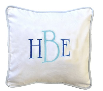 White Pique Throw Pillow with Blue Cording