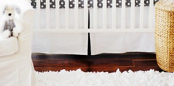 White Pique with Gray Trim Crib Skirt