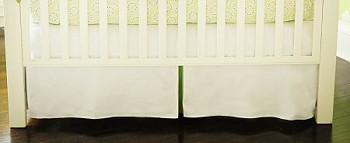 White Pique with Green Trim Crib Skirt