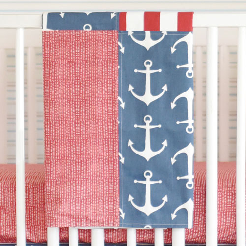 Nautical Baby Blanket | Anchors Away in Navy Crib Collection