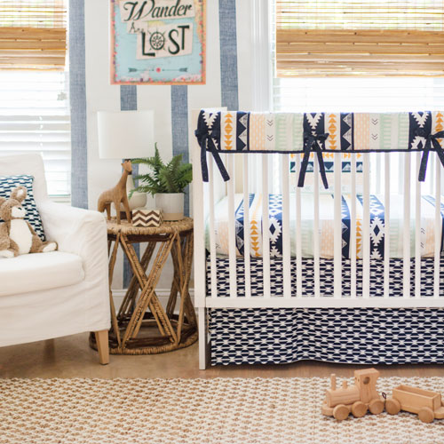 Aztec Nursery Crib Rail Cover Bedding Set | Tomahawk Collection