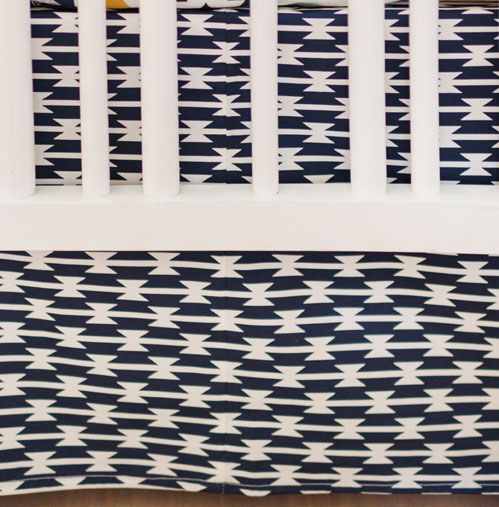 Navy Aztec Crib Skirt | Tomahawk Stripe Collection