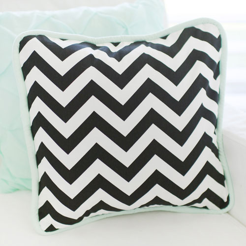 Mint and Black Chevron Pillow