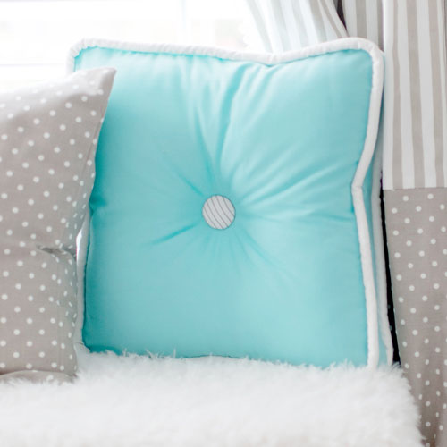 Aqua Box Edge Pillow | Dalmatian Spots Crib Collection