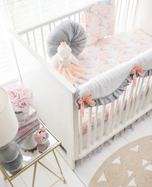 peach pink grey baby bedding