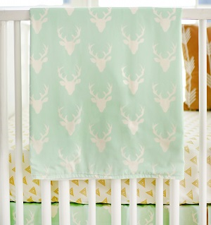 Deer Baby Blanket | Buck Forest in Mint Crib Collection