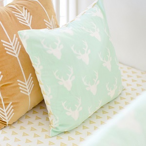 Mint Deer Pillow | Buck Forest in Mint Crib Collection