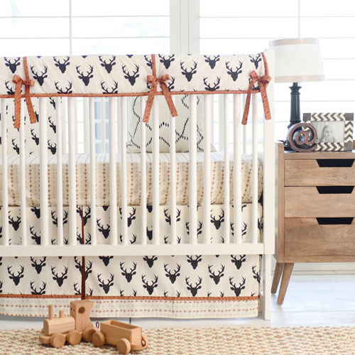 Boy Woodland Deer Crib Set | Buck Forest in Night Collection