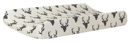Black Deer Changing Pad Cover | Buck Forest in Night Crib Collection