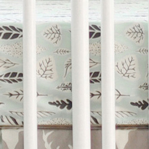 Mint Leaf Crib Sheet | Buck Forest in Mist Collection