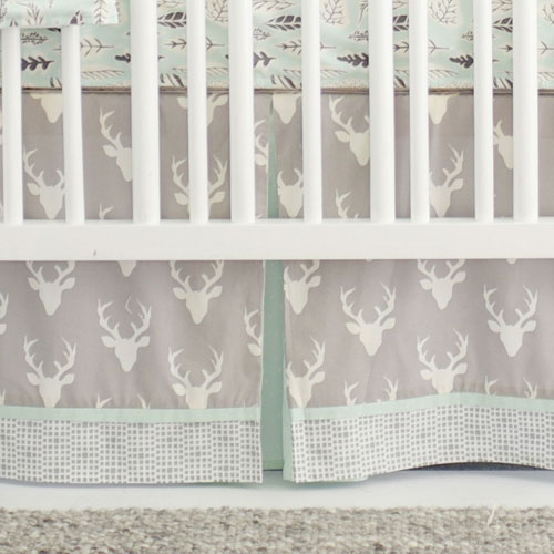 Gray Deer Nursery Skirt | Buck Forest in Mist Collection