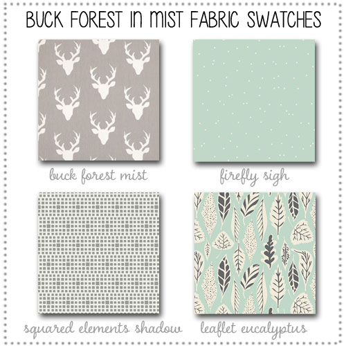 Buck Forest in Mist Crib Collection Fabric Swatches Only