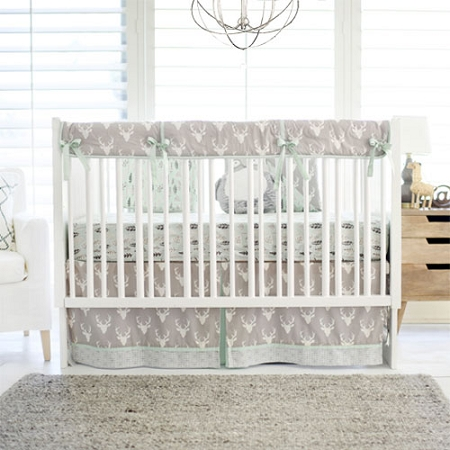 Mint and Grey Woodland Deer Nursery Set | Buck Forest in Mist Collection