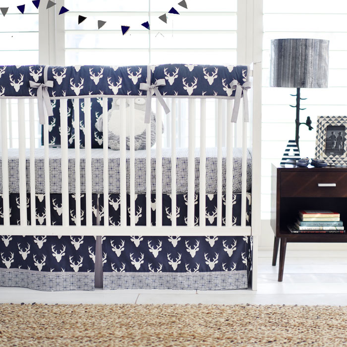 Navy Boy Woodland Deer Crib Bedding Set | Buck Forest in Twilight Deer Crib Rail Guard Collection